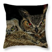 Red Eyed Mama And Baby Horned Owls Throw Pillow