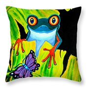 Red Eyed Tree Frog And Purple Butterfly Throw Pillow