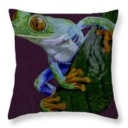 Red Eyed Tree Frog Original Oil Painting 4x6in Throw Pillow