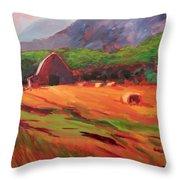Red Farm Throw Pillow