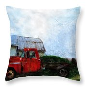 Red Farm Truck Throw Pillow