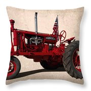 Red Farmall Tractor Throw Pillow
