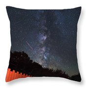Red Fence Milky Way Throw Pillow