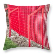 Red Fence Throw Pillow