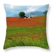 Red Fields Throw Pillow