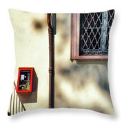 Red Fire Box With Window, Shadows And Gutter Throw Pillow
