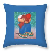 Red Fish And Blue Trousers. Throw Pillow
