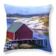 Red Fishing Shed On The Cove Throw Pillow