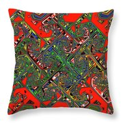 Red Five Wave Abstract Throw Pillow