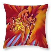 Red Flame Hibiscus Throw Pillow
