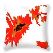 Red Floating Florals Throw Pillow