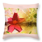 Red Floral Grunge Throw Pillow