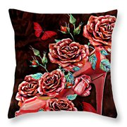 Red Floral Heels Throw Pillow