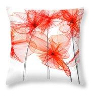 Red Floral - Red Modern Art II Throw Pillow