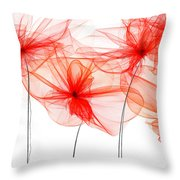 Red Floral - Red Modern Art Throw Pillow
