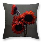 Red Flower Blue Vase Throw Pillow