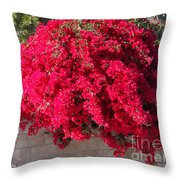 Red Flower Bushes Throw Pillow