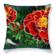 Red Flower In Autumn Throw Pillow