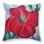 Red Flower Dreams Throw Pillow