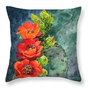 Red Flowering Prickly Pear Cactus Throw Pillow