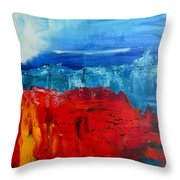 Red Flowers Blue Mountains - Abstract Landscape Throw Pillow