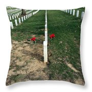 Red Flowers In Arlington Throw Pillow