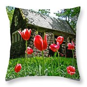 Red Flowers In Central Park Throw Pillow