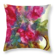 Red Flowers In Gold Vase Throw Pillow