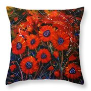 Red Flowers In The Night Throw Pillow