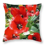 Red Flowers Throw Pillow