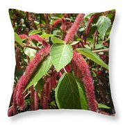 Red Fluffy Flower Throw Pillow