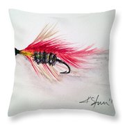 Red Fly Tie Throw Pillow