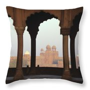 Red Fort From The Jama Masjid Throw Pillow