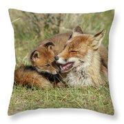 Red Fox Cub Love Throw Pillow