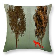 Red Fox Forest Throw Pillow