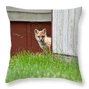 Red Fox Kit Peaking Around Old Barn Throw Pillow