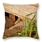 Red Fox Kit Peaking Out From Den Under Old Granary Throw Pillow
