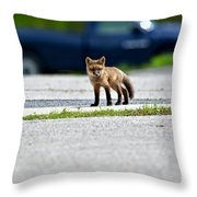 Red Fox Kit Standing On Old Road Throw Pillow