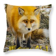 Red Fox Nature Girl Throw Pillow