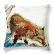 Red Fox Painted Series Throw Pillow