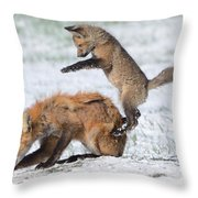Red Fox Pounce Throw Pillow
