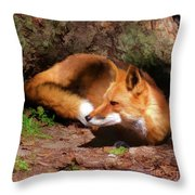 Red Fox Resting Square Throw Pillow