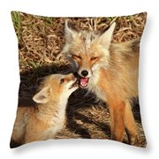 Red Fox Vixen With Pup On Hecla Island In Manitoba Throw Pillow