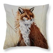 Red Fox Waiting On Breakfast Throw Pillow