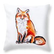 Red Foxie Throw Pillow