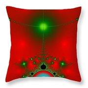 Red Fractal Throw Pillow