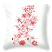 Red Fractal Floral Pattern Throw Pillow
