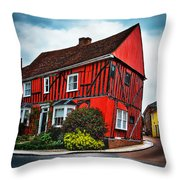 Red Frame House In Lavenham, England. Throw Pillow