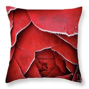 Red Frosty Metal Rose Throw Pillow