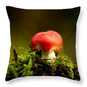 Red Fungus Throw Pillow
